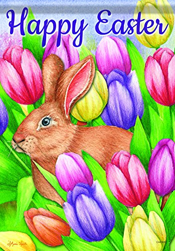 Carson Home Accents Flagtrends Classic Garden Flag, Happy Easter Bunny Crossing