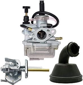 LT80 Carburetor with Fuel Switch Valve Petcock Intake Manifold for Suzuki LT 80 Quadsport ATV Carb, Replace 13200-40B10 13881-40B00 by TOPEMAI