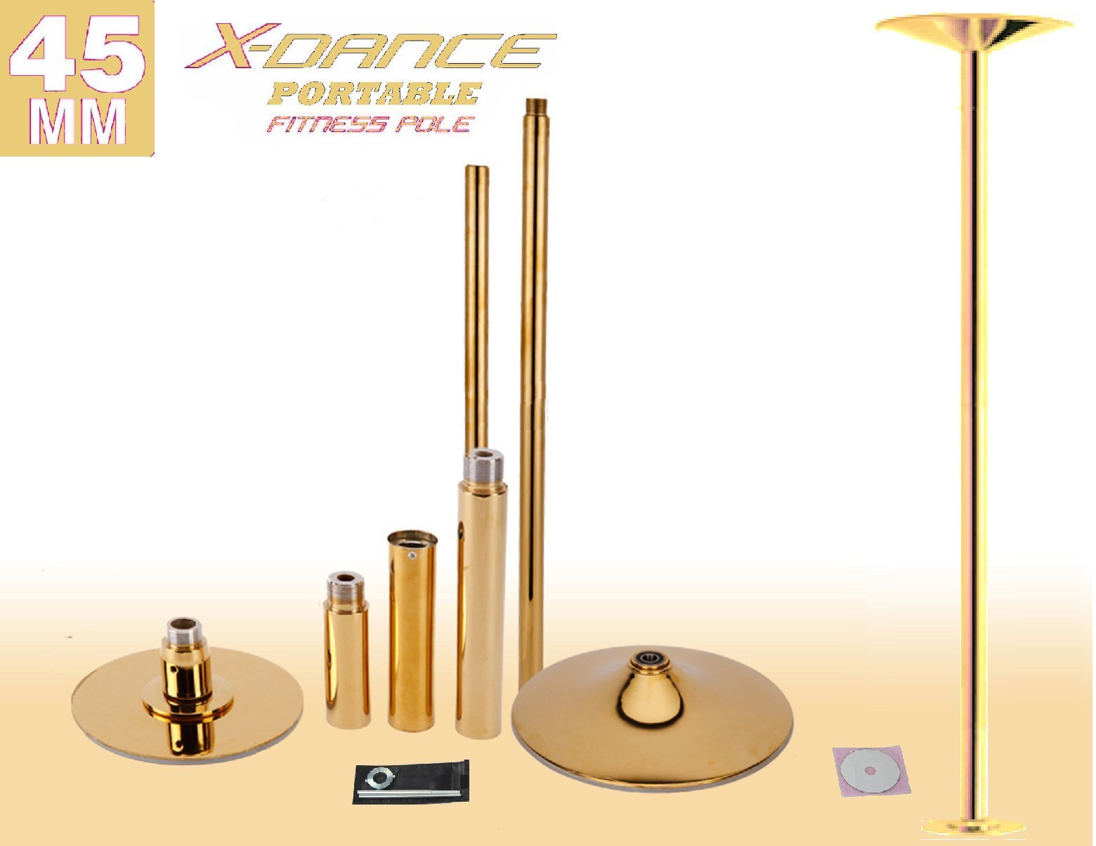 X-Dance (TM) 45 mm Professional Exotic Fitness Removable Pole Dance Fitness Stripper GOLD Colour Dancing Spinning Pole …