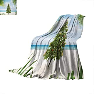 Christmas Lightweight Blanket Tree with Tinsel and Ornaments Tropical Island Sandy Beach Party Theme Warm Microfiber All Season Blanket for Bed or Couch 50'x30' Green Blue Cream