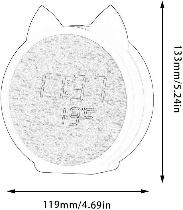 schwarzes Holz wei/ßes Licht + cool FairytaleMM kreative Wecker Led Studentenkinder Holz Uhr Voice Control Cartoon Wecker Holzhaus Geschenk Katze Wecker