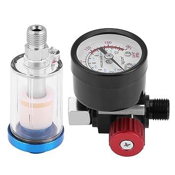 1/4 Pistola de pulverización neumática, calibre de presión de aire regulador de aceite en línea, kit de filtro separador de agua: Amazon.es: Coche y moto