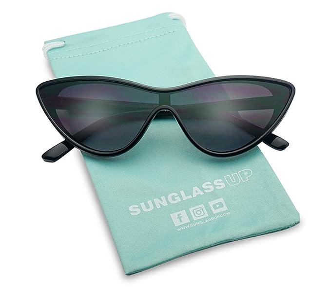 Amazon.com: sunglassup – Retro escudo lente única triángulo ...
