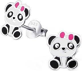 SL-Silver Ohrringe Kinderohrringe kleiner Panda Schleife 925 Silber