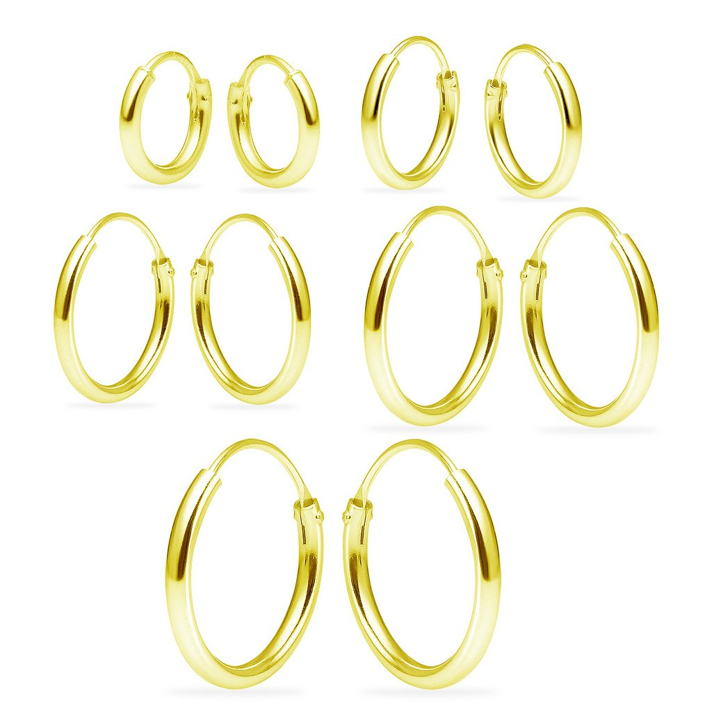 Sterling Silver Endless Hoop Earrings Set Of Five 1.2mm x 8, 10, 12, 14, 16mm Thin Round Unisex Yellow Gold Flashed