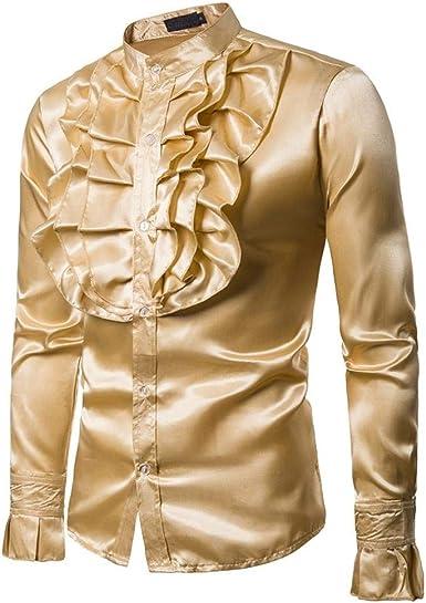 Yvelands Hombres Camisa de Seda Slim Fit de los Hombres Camiseta cómoda Top Blusa Dance Concert Party Fiesta de Navidad Cosplay de Halloween Nuevo: Amazon.es: Ropa y accesorios