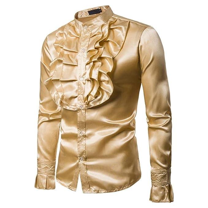 Yvelands Hombres Camisa de Seda Slim Fit de los Hombres Camiseta cómoda Top Blusa Dance Concert