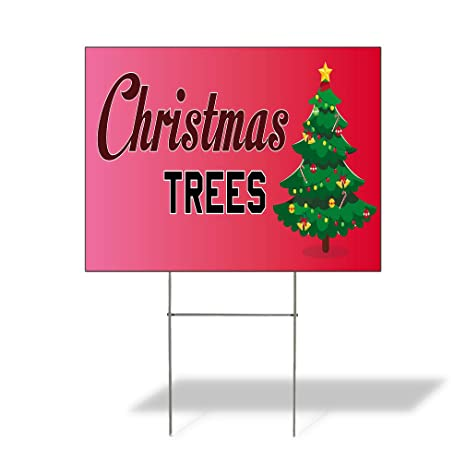 christmas trees 1 outdoor lawn decoration corrugated plastic yard sign 12inx18in free stakes - Yard Plastic Christmas Decorations Outdoors