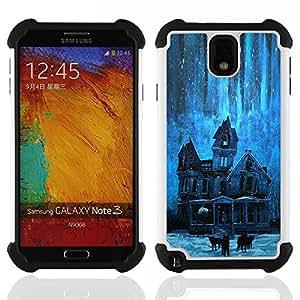 """SAMSUNG Galaxy Note 3 III / N9000 / N9005 - 3 en 1 impreso colorido de Altas Prestaciones PC Funda chaqueta Negro cubierta gel silicona suave (Estrellas Noche embrujada espeluznante Azul"""")"""