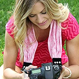 Capturing Couture Heather Pink Scarf Super Comfortable Camera Strap and a Bonus Ivation Spot Cleaning Cloth