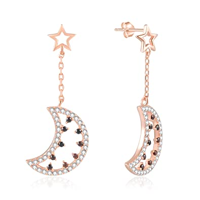 768a57afe 925 Sterling Silver Rose Gold Plated Cubic Zirconia Moon Dangle Small Star  Stud Earrings For Women Girls: Amazon.co.uk: Jewellery
