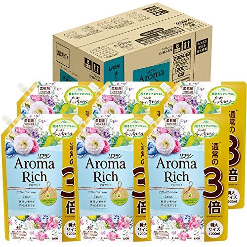 소프란 아로마리치 섬유유연제 사라(아쿠아틱 부케아로마의 향기) 유연제 리필용 1200ml×6 개세트