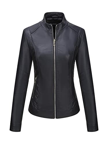 Bellivera Women's Faux Leather Fall Casual Short Jacket