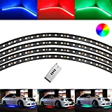 "iJDMTOY 4pc 7-Color RGB LED Under Car Lighting System w/ Wireless Remote (48"" x 2, 36"" x 2)"