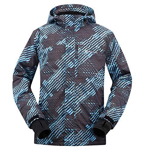 Andorra Men's Performance Insulated Ski Jacket with Zip-Off Hood,Blue Black ()