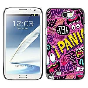 X-ray Impreso colorido protector duro espalda Funda piel de Shell para SAMSUNG Galaxy Note 2 II / N7100 - Crazy Cartoon Text Funky Modern