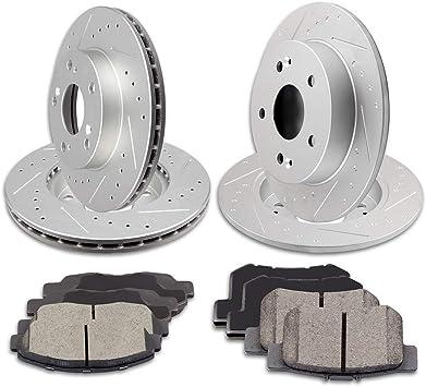 For 2006-2008 Toyota RAV4 Front Rear eLine Drill Slot Brake Rotors+Ceramic Pads