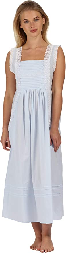 Vintage Nightgowns, Pajamas, Baby Dolls, Robes The 1 for U 100% Cotton Long Nightgown with Pockets XS-3X Rebecca $44.99 AT vintagedancer.com