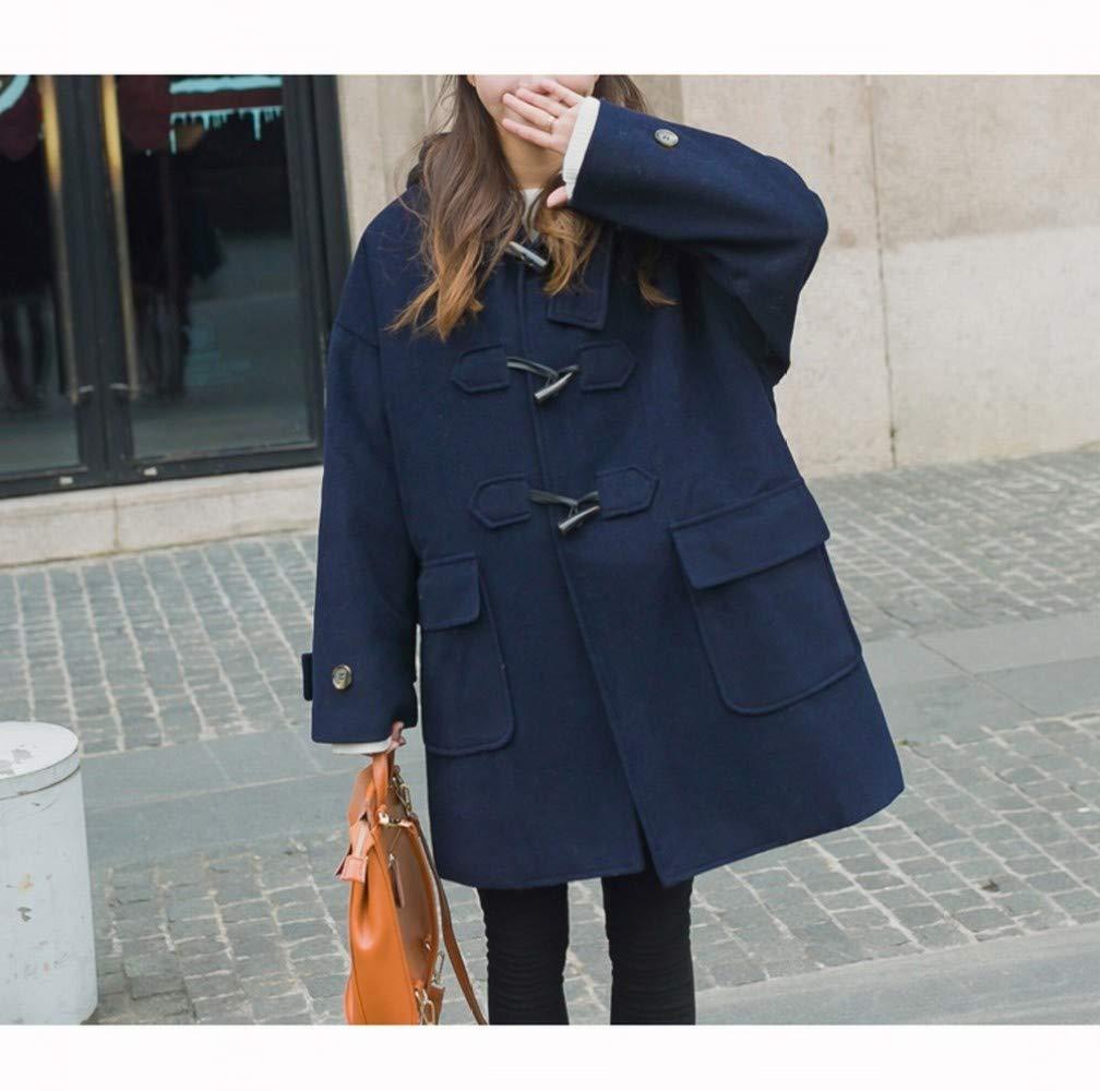 Bleu marin M CWJ Manteau Chaud des Femmes dans Le Long Manteau De Laine en Vrac Hiver, Manteau en Laine épais Col grand, Les Filles Tendance Maonie Manteau