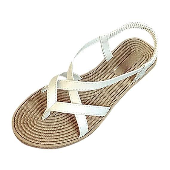 05c979a2 Tefamore Mujer Zapatos Planos Vendaje Bohemia Ocio Sandalias de señora Peep-Toe  Zapatos al Aire Libre: Amazon.es: Ropa y accesorios