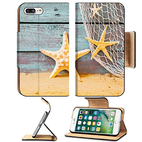 MSD Premium Apple iPhone 7 Plus Flip Pu Leather Wallet Case Nautical background with starfish and a fishing net against rustic weathered blue wooden planks above golden beach sand Image ID