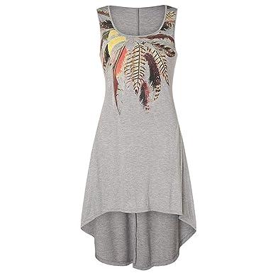 698618d3d578 ZZpioneer Dress for Women, Round Neck Sleeveless Tank Dress Casual Plus Size  Irregular Hem Party Dress at Amazon Women's Clothing store: