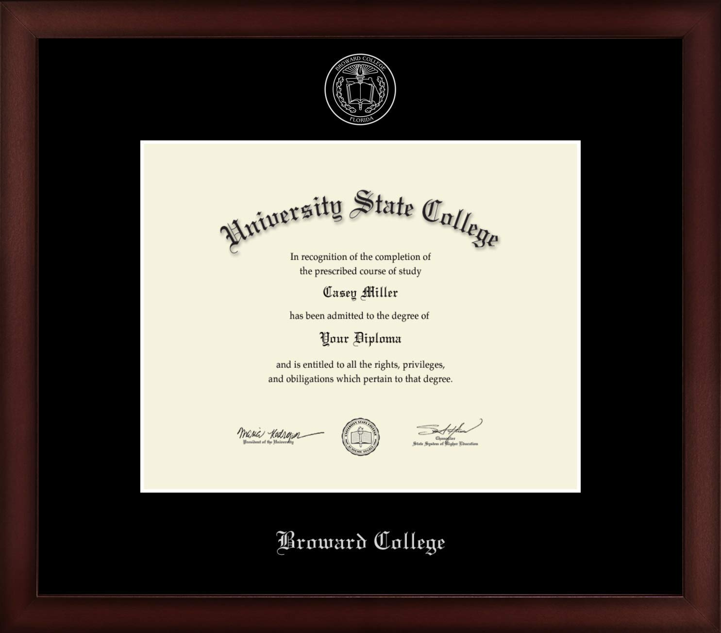 Broward College - Officially Licensed - Silver Embossed Diploma Frame - Diploma Size 10'' x 8''