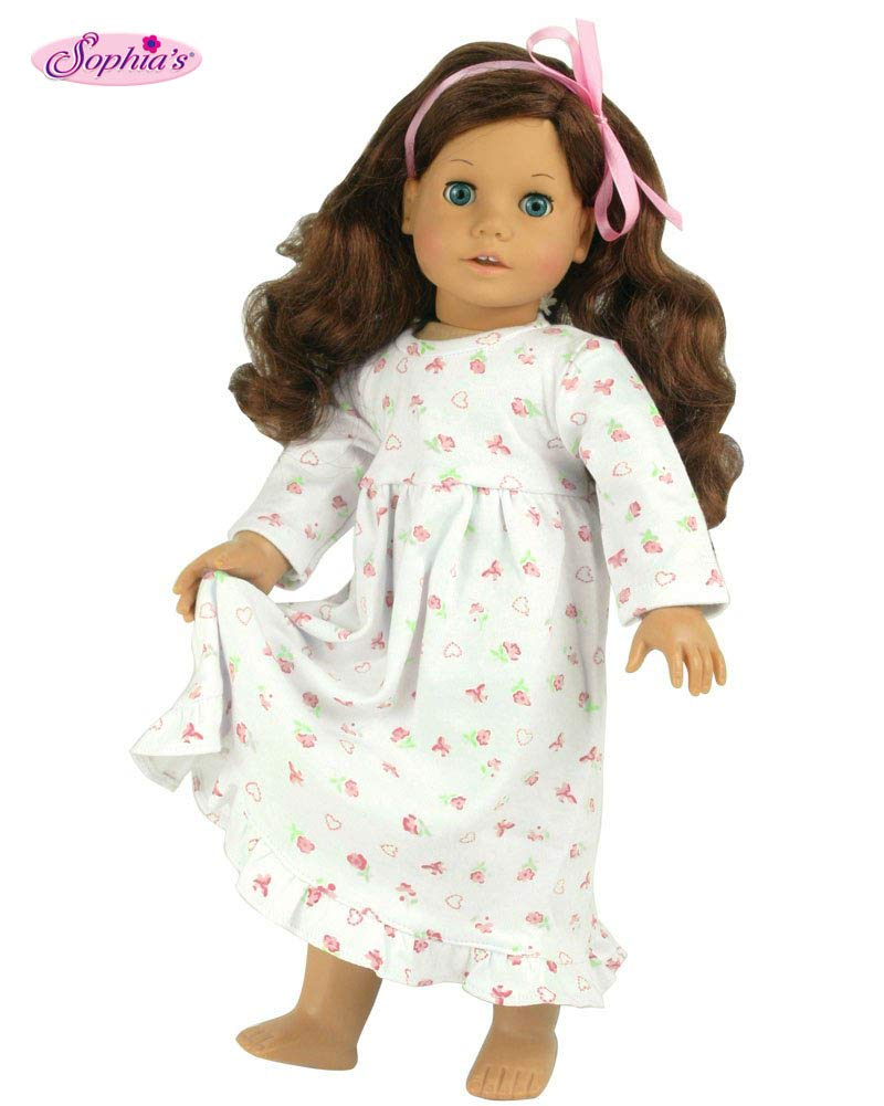 """Floral Print Nightgown By Sophia/'s Fits American Girl And 18/"""" Dolls"""