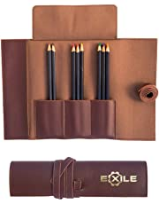 Exile Leather Goods PU Pencil Case - Soft Roll Pocketed Pen Wrap - Water Resistant Pouch - Stationery Gift for Artists and Students