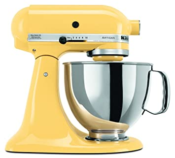 Astounding Kitchenaid Ksm150Psmy Artisan Series 5 Qt Stand Mixer With Pouring Shield Majestic Yellow Home Interior And Landscaping Analalmasignezvosmurscom