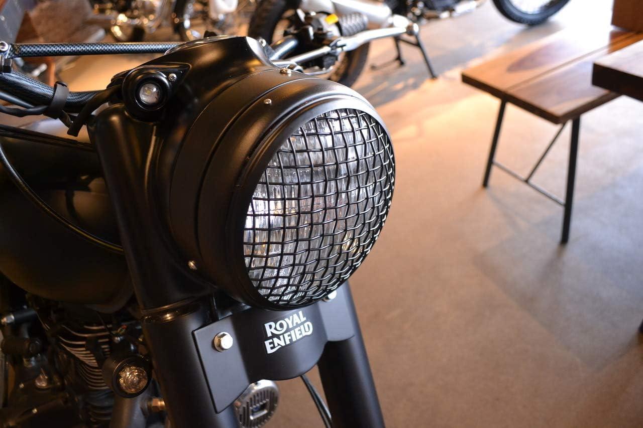 Motorrad Netz Metall Grill Abdeckung Für 7 Zoll Scheinwerfer Matt Schwarz Für Scrambler Projekt Maßgefertigt Auto