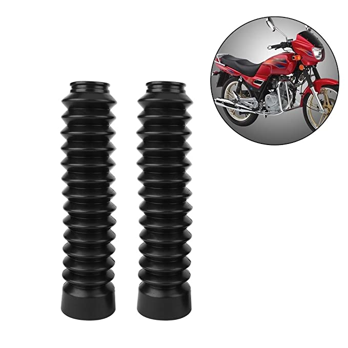 1 Pair Rubber Fork Cover Gaiters Keenso Motorcycle Front Fork Cover Gaiters Gators Boots Shock Damping Dust Cover 205 x 42mm Black