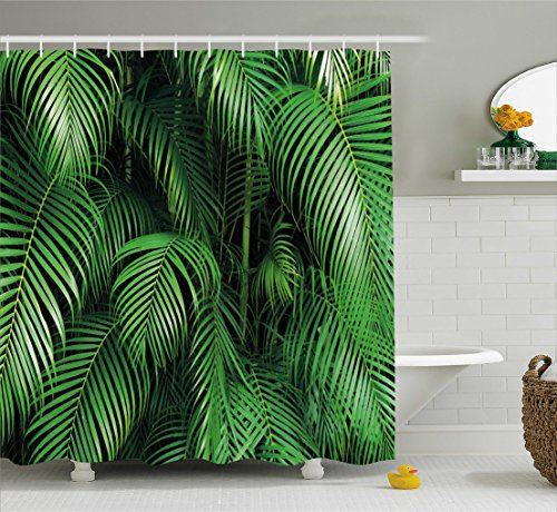 (Ambesonne Green Shower Curtain, Tropical Exotic Palm Tree Leaves Branches Botanical Photo Jungle Garden Nature Eco Theme, Fabric Bathroom Decor Set with Hooks, 70 Inches,)