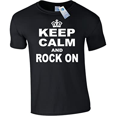 6f080c19 Fonfella Slogans KEEP CALM AND ROCK ON T SHIRT Music Roll Climbing ...