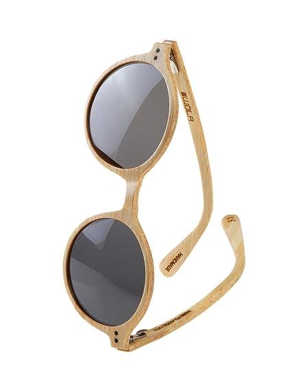 WOLA redondas gafas de sol en madera HELIO bambú ò madera ...