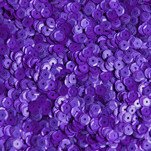 5mm Cup Round Sequins Purple Matte Silk Frost. Made in USA