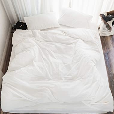 MooMee 100% Washed Cotton Linen Like Soft Breathable Durable 3 Piece Home Bedding Set Solid Off White King