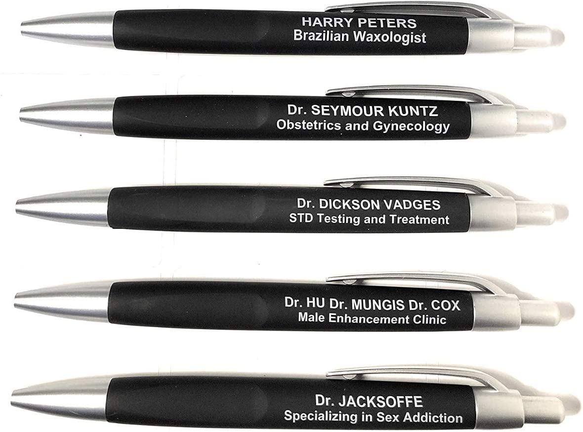 Laughable Funny Pens | Novelty Ballpoint Pens | Gag Gift | For Nurses, Doctors, Med School Students, Medical professionals/assistants, Social Workers, Servers, Waiters | Set of 5 Pens