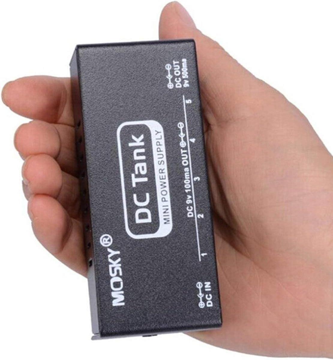noir Alimentation portable pour p/édale deffets de guitare avec 6 sorties isol/ées pour six p/édales 9V simultan/ément