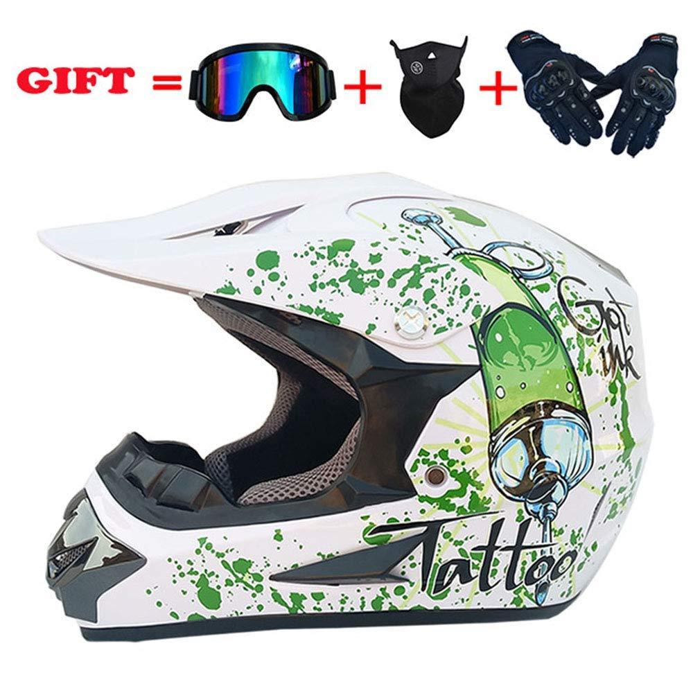 スポーツモトクロスオールマイティヘルメット、フォーシーズンズユニバーサルアダルトオフロードバイク、D.O.Tマウンテンバイクフルフェイスヘルメットセット4 L XL、ホワイト、XL,白、大
