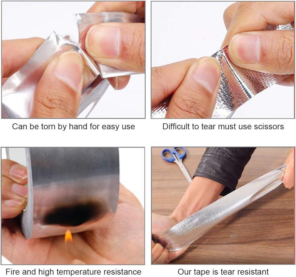 Aluminiumfolienband f/ür Leitungen Silber Wasserdicht Keleily Aluminiumband Aluminiumklebeb/änder Hitzebest/ändig 10 mm x 20 m Schmuckherstellung HLK-Reparatur Metallreparatur