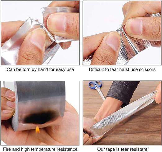 Plata Reparaci/ón de HVAC Keleily Cinta de Aluminio Adhesiva Cinta de Aluminio Adhesiva Alta Temperatura para Conductos Fabricaci/ón de Joyas 5 mm x 50 m Reparaci/ón de Metal