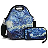 Insulated Neoprene Lunch Bag-Removable Shoulder Strap-X Large Size Reusable Thermal Thick Lunch Tote/Lunch Box/Cooler Bag With Wallet Pouch For Women,Teens,Girls,Kids,Baby,Adults (Hurricane)