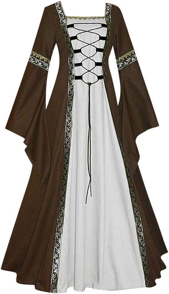 Damen Langarm Mittelalter Kleid Gothic Retro Kleid Renaissance Cosplay Kost/üm Prinzessin Kleid Lange Abendkleid Gebunden Taille Rockabilly Maxikleid Weihnachts Karneval Festlich Party S-5XL