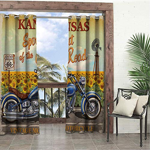 (Linhomedecor Garden Waterproof Curtains Route 66 Kansas Spirit of The Road Typography in Front of Sunflower Garden Historic Route Multicolor Porch Grommet Printed Curtain 108 by 96 inch )