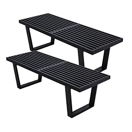 Peachy Emorden Furniture George Nelson Platform Bench 3 Sizes Black Ash Wood 4 Feet Wooden Entryway Slat Bench 2 Set Creativecarmelina Interior Chair Design Creativecarmelinacom