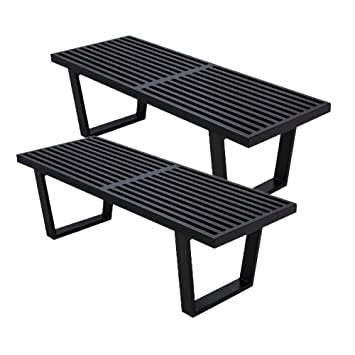 Strange Mlf George Nelson Platform Bench Wooden Entryway Bench 4 Feet In Black Painted Ash Wood 2 Set Andrewgaddart Wooden Chair Designs For Living Room Andrewgaddartcom