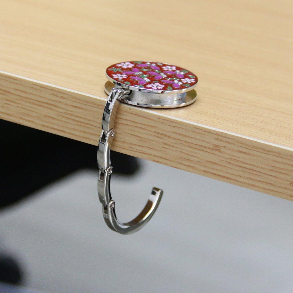 Accroche-sac Rond Motif de Fleur Pliant Crochet Porte Sac à Main - Rouge Generic EU0414014647