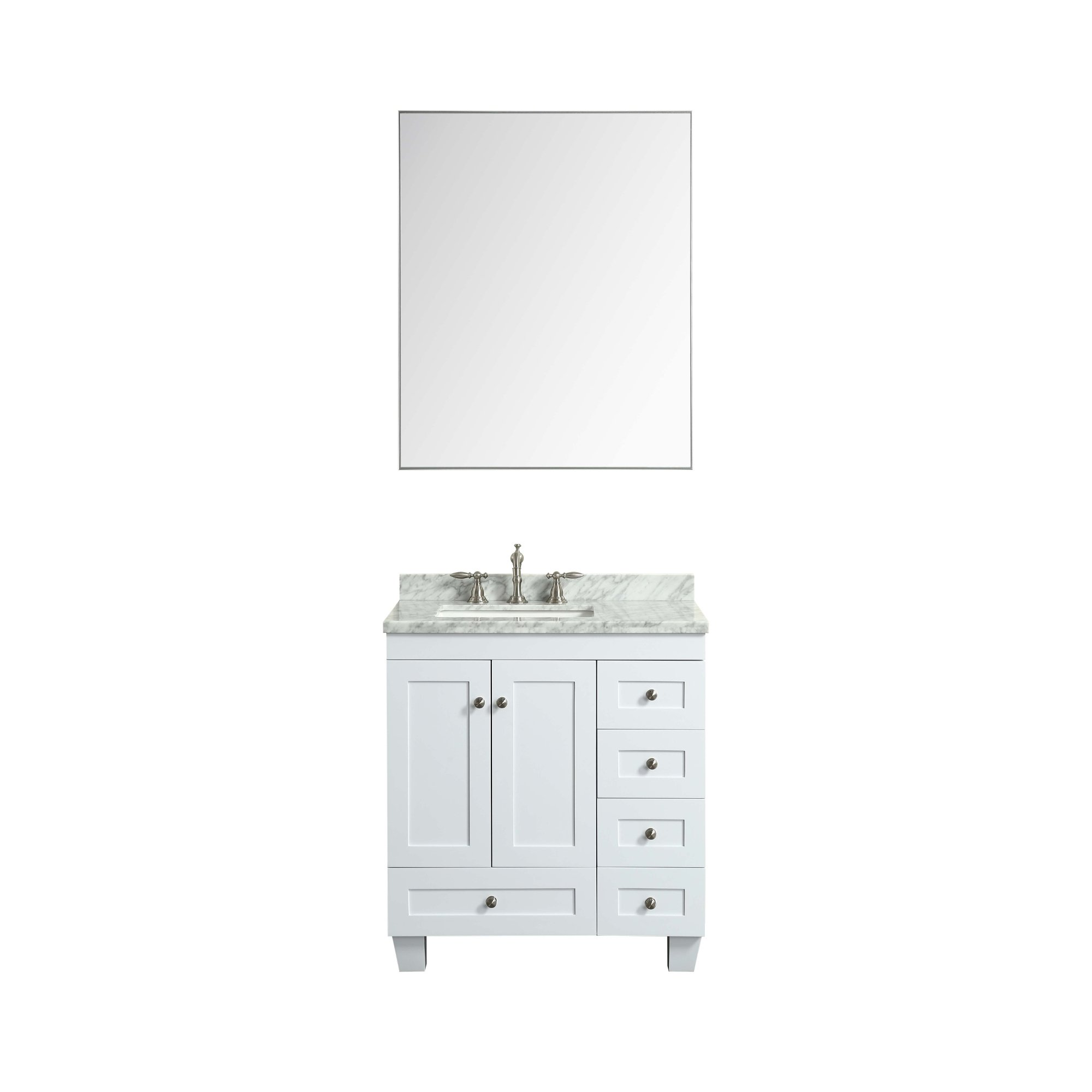 Eviva Evmr-36x30-Metalframe Sax 36'' Chrome Metal Frame Bathroom Wall Mirror Combination by Eviva