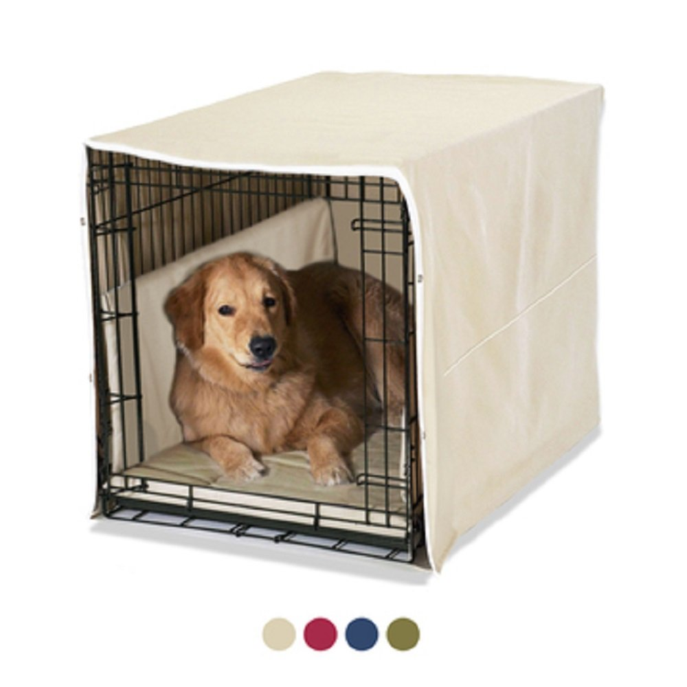 New Double Door 3 Piece Crate Bedding Set. THE ORIGINAL CRATE COVER, CRATE PAD AND BUMPER JUST GOT BETTER! X-Large Fits 42'' Midwest Crate - Khaki by Pet Dreams